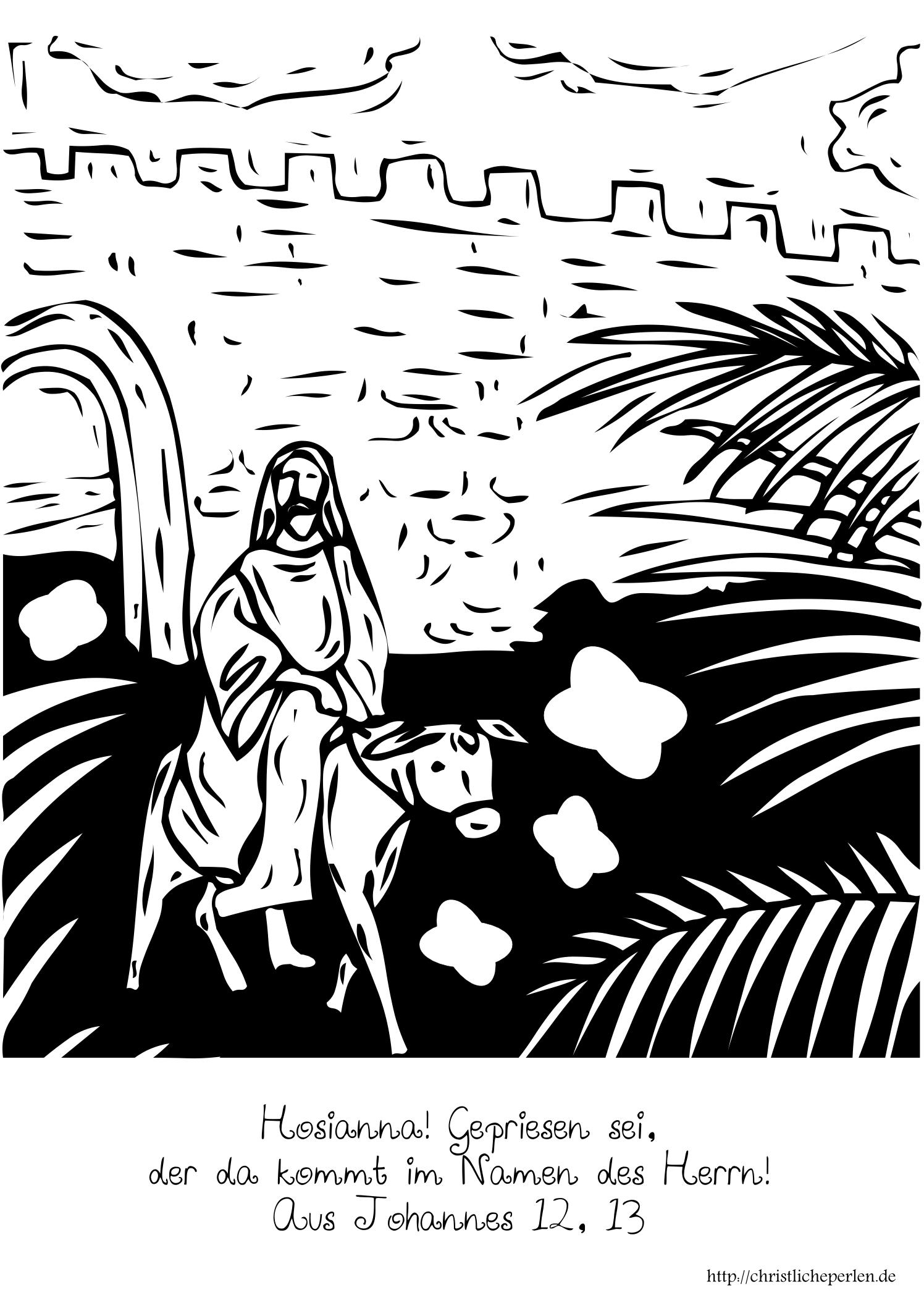 Palmsonntag Bild Oder Karte Zum Ausmalen Christliche Perlen