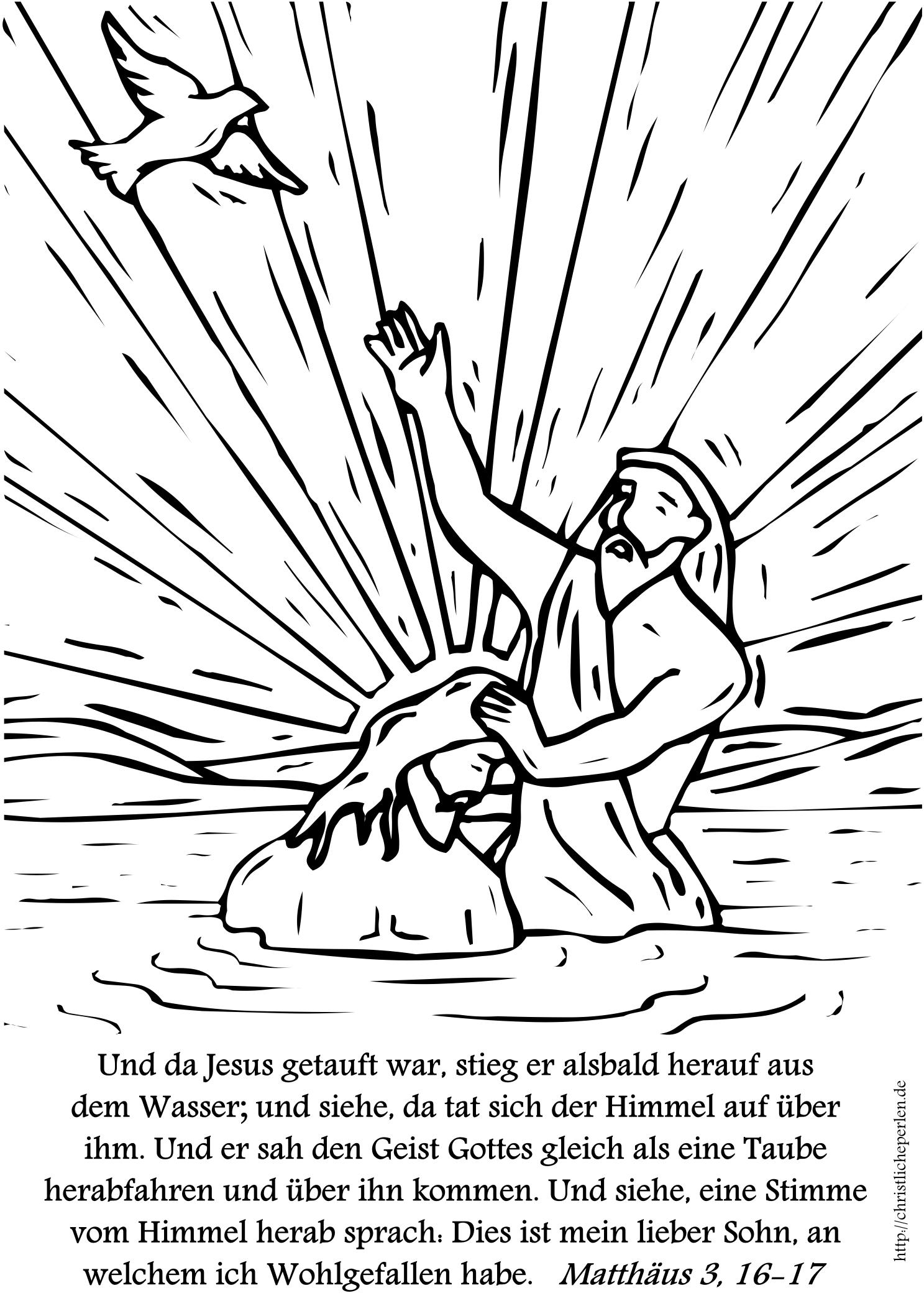 Johannes tauft Jesus zum Ausmalen | Christliche Perlen