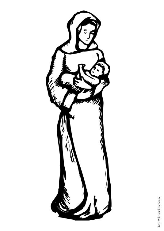 Ausmalbild Maria und Jesuskind