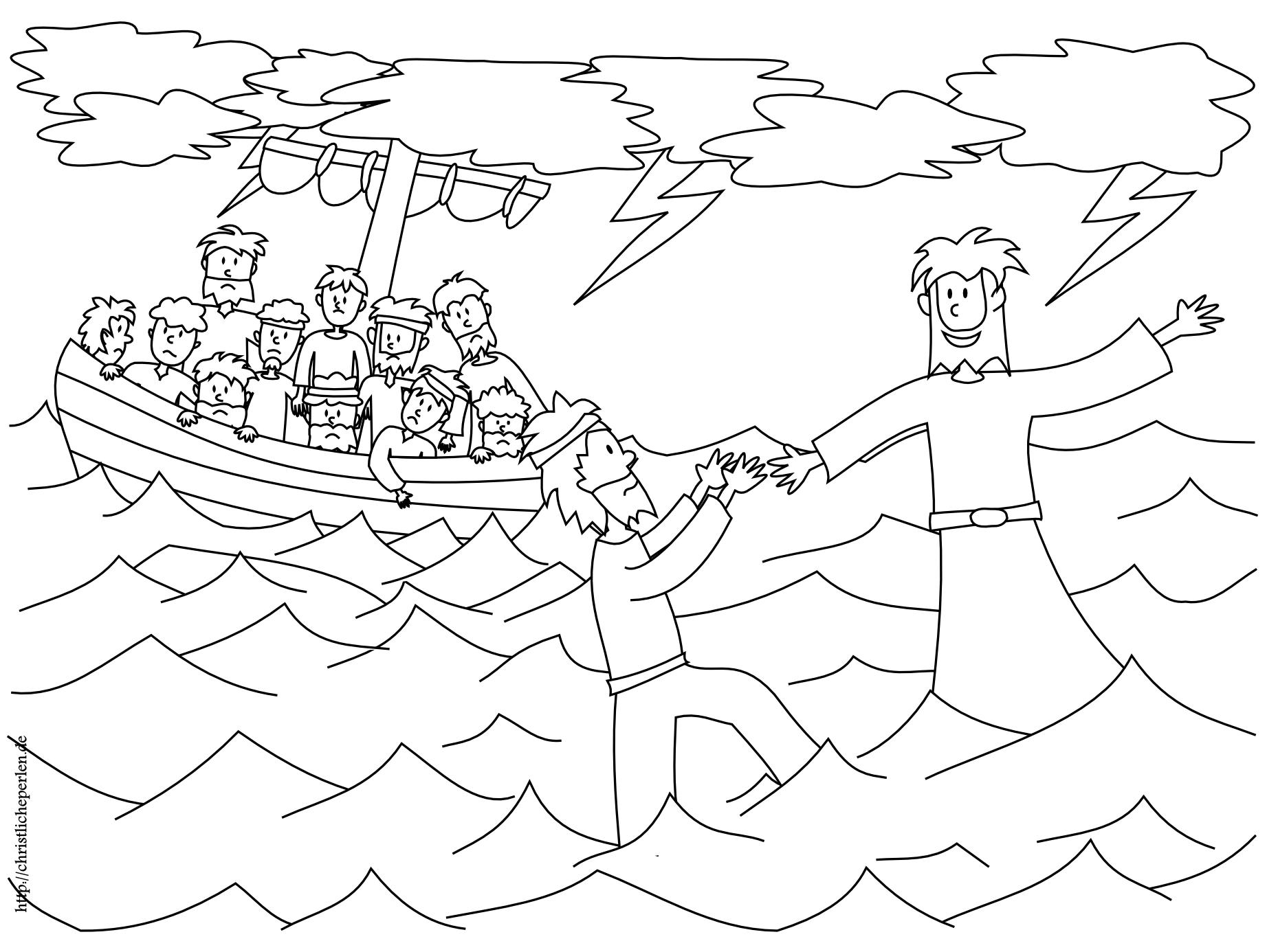 Basteln Jesus Und Petrus Auf Dem Wasser Christliche Perlen