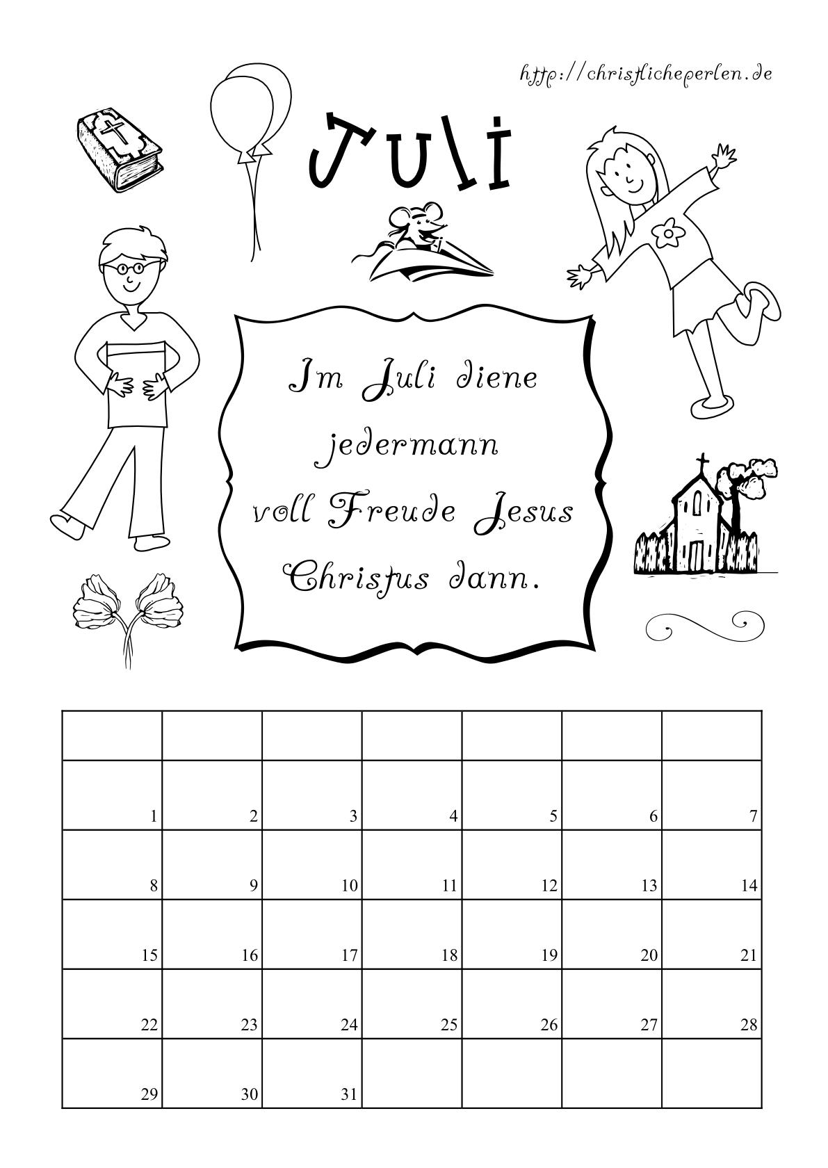Kalender zum Ausdrucken und Ausmalen : Christliche Perlen