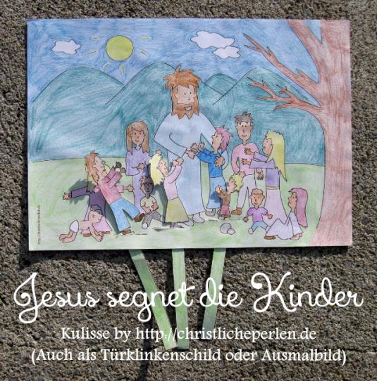 Jesus segnet die Kinder basteln