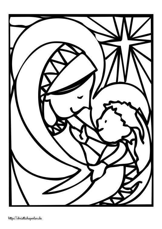 Maria und Jesus ausmalen