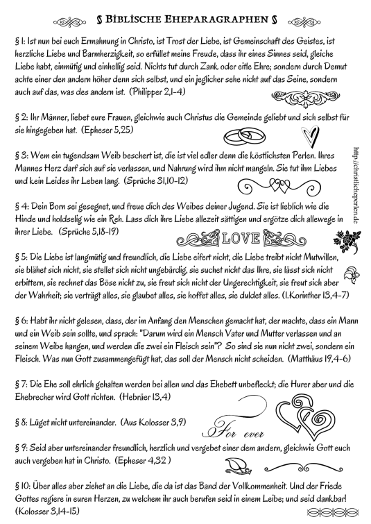 Biblische Eheparagraphen