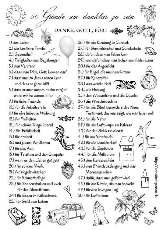 50 Gründe um dankbar zu sein