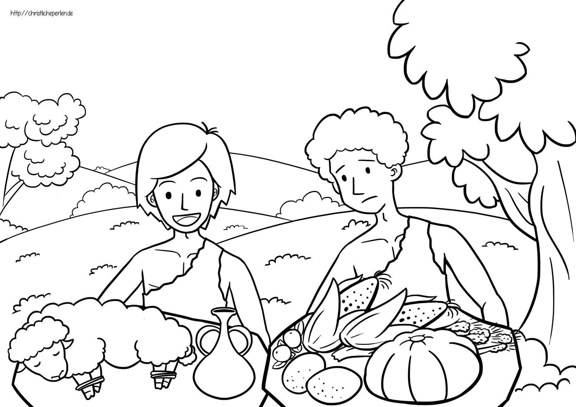 Kain und Abel ausmalen / Cain and Abel Coloring Pages | Christliche ...
