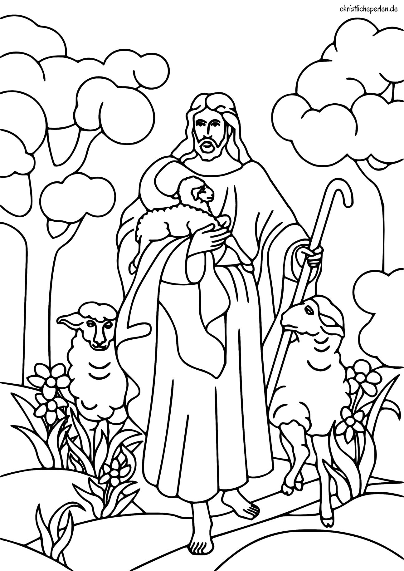 Psalm 23 / Guter Hirte basteln und ausmalen | Christliche Perlen