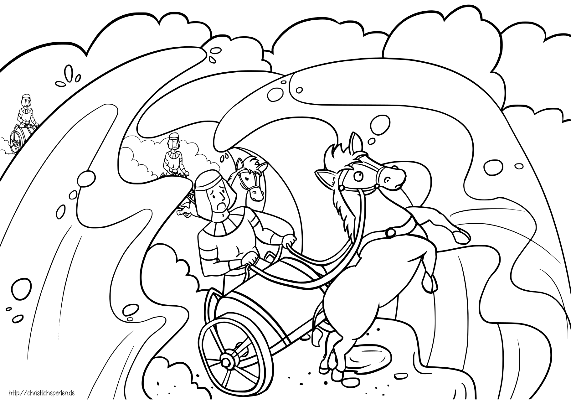 moses red sea crossing coloring pages | Mose teilt das Meer Ausmalbilder / Crossing the Sea ...