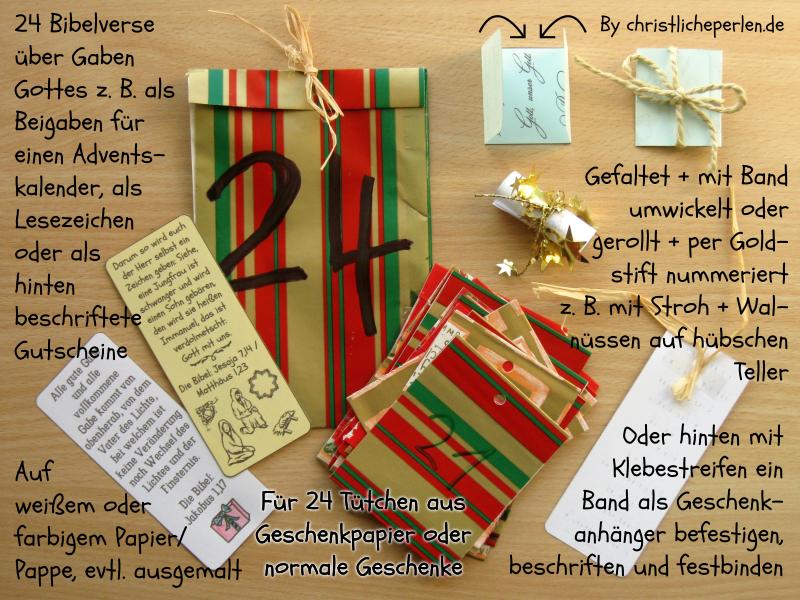 24 Bibelverse z. B. für einen Adventskalender | Christliche Perlen