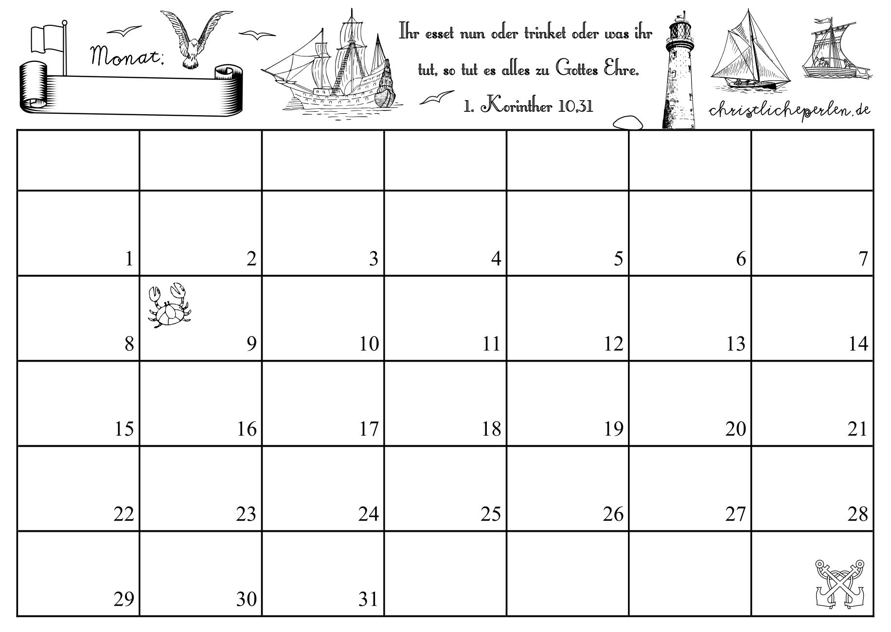 Monatskalender zum Ausdrucken | Christliche Perlen