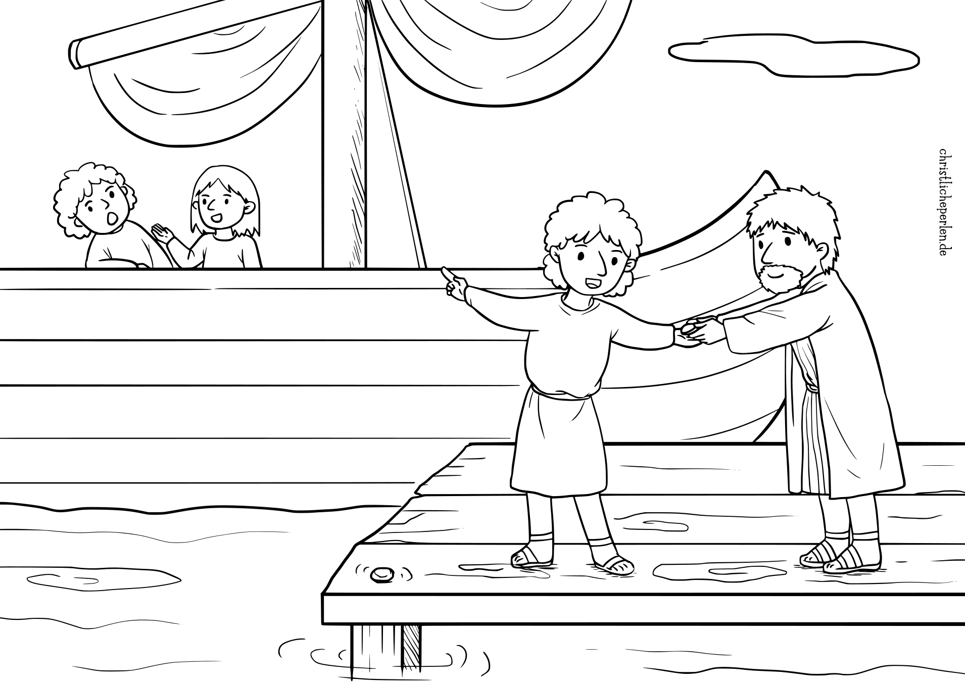 Jona im Wal Ausmalbilder / Jonah in the Whale Coloring Pages ...